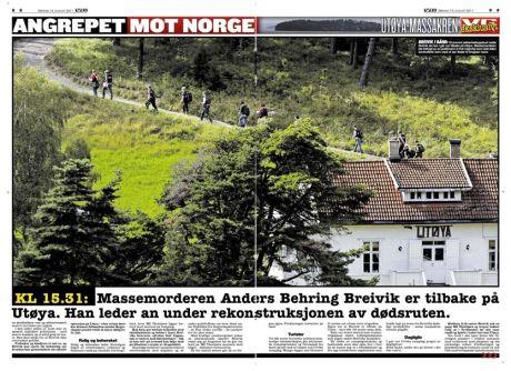 BREIVIK I BÅND: Et enormt sikkerhetsoppbud møtte Breivik da han i går var tilbake på Utøya. Massemorderen ble fotfulgt av en politimann (i hvit t-skjorte) som hele tiden kontrollerte ham med et tau festet til kroppen hans. Foto: Faksimile: VG