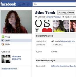 KAPRET DRØMMEDAMA: På Stine Tombs Facebook-profil er hun og Christina Vukicevic fortsatt oppført som et par. Foto: Faksimile: Facebook.com