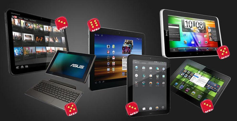 Redaksjonen i Lyd og Bilde har testet seks nettbrett. Fra venstre Motorola Xoom, Asus Eee Pad Transformer, Samsung Galaxy Tab 10.1, HC Touch Pad, Htc Flyer og Black Perry Playbook. Foto: Produsentene