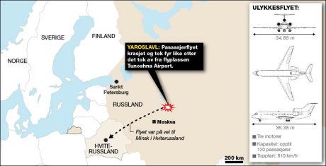 FLYKRASJ: Et fly av typen Jak-42 krasjet like etter at det tok av fra en flyplass ved den russiske byen Jaroslav 280 kilometer nordøst for Moskva. Grafikk: Tom Byermoen