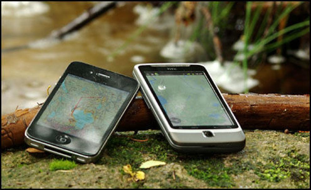 Mobilen kan fint brukes som navigasjonsenhet i skogen, men pass på batterilevetiden!