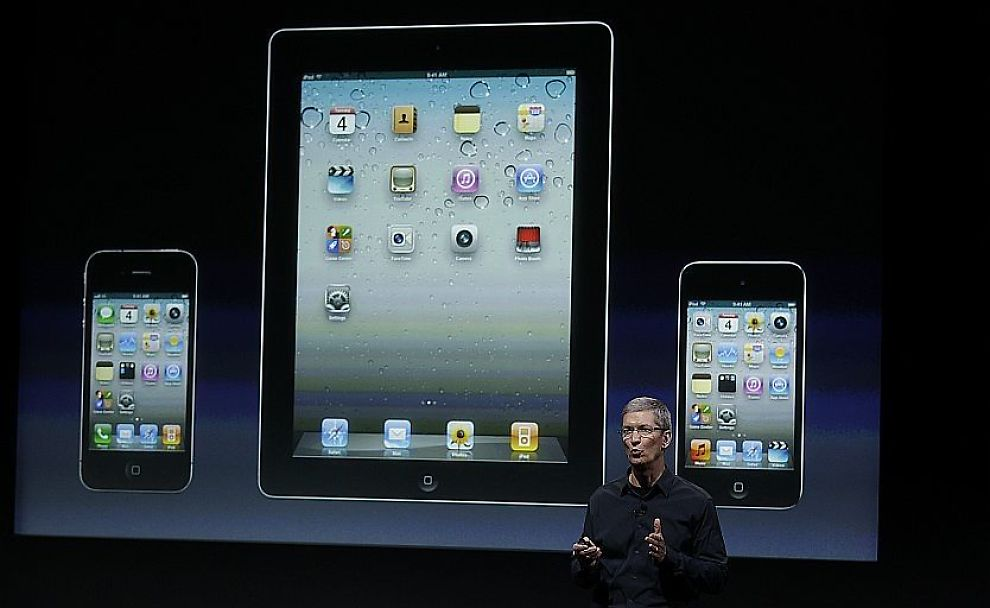 INGEN IPHONE5: Apples nye sjef Tim Cook ledet kveldens pressekonferanse, men kunne ikke vise frem noen iPhone5. Foto: AP/Paul Sakuma