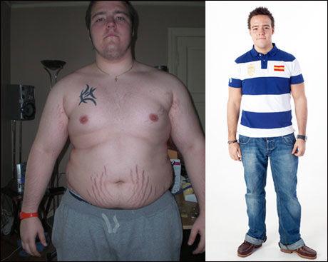 UNG OG TUNG: - Jeg har alltid vært mer eller mindre overvektig. Altfor mange slankeforsøk har endt opp med at jeg går tilbake til gamle, usunne kostholdsvaner før jeg har nådd målet, sier André (førbilde til venstre). Foto: Janne Møller-Hansen