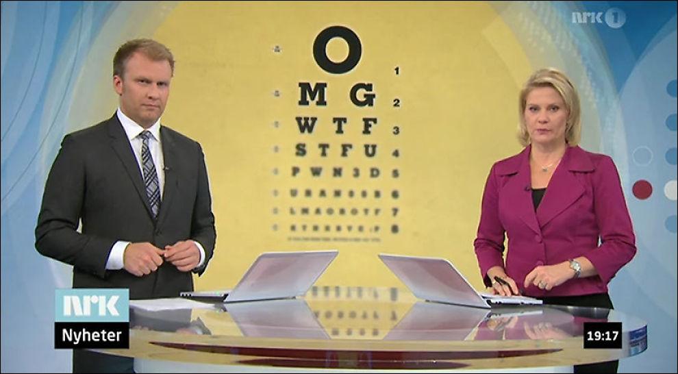 LOL: Slik så det ut da programlederne Atle Bjurstrøm og Cecilie Roang Bostad introduserte innslaget. Foto: NRK