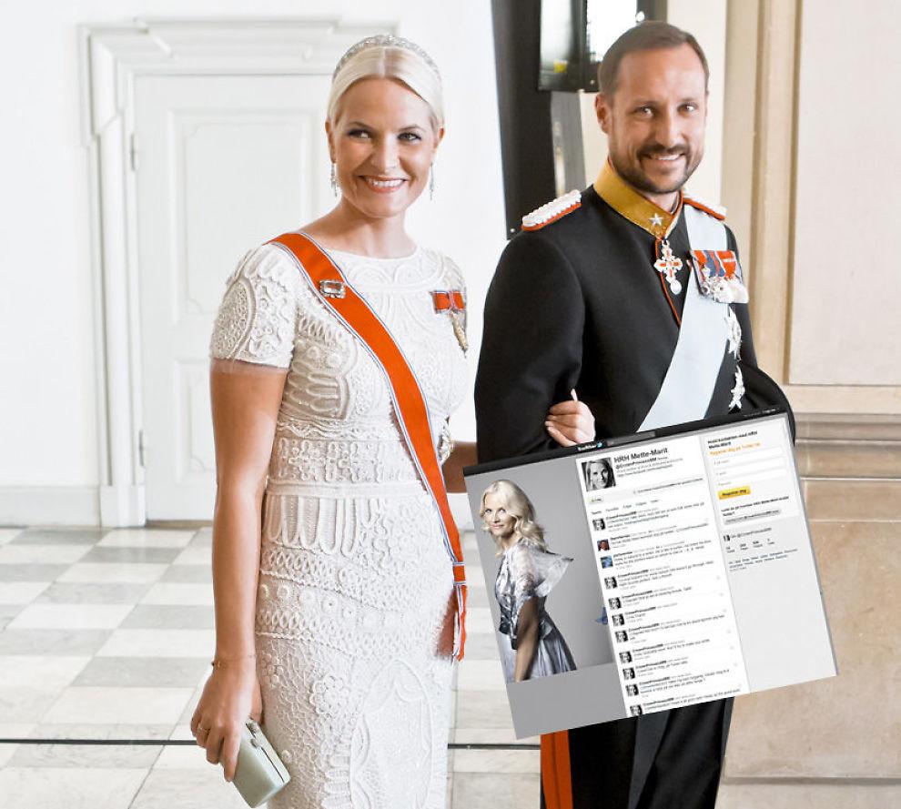 TWITTER-PRINSESSE: Kronprinsesse Mette-Marit har fått sin egen konto på Twitter. Her er kronprinsparet på kongelig fest i Danmark sist helg. Foto: Scanpix/Twitter