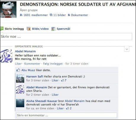KLAR TALE: Her har Aisha Shezadi kommentert på Facebook-siden «Demonstrasjon: Norske soldater ut av Afghanistan». Foto: SKJERMDUMP