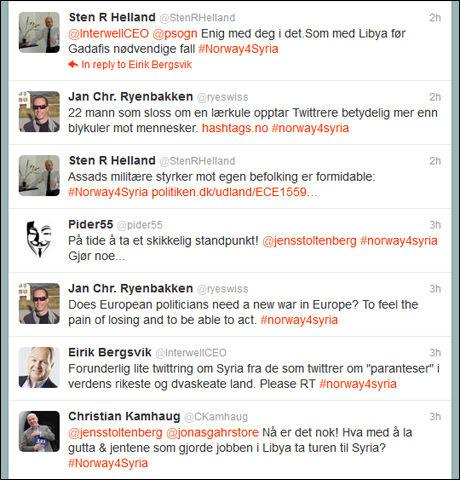 KREVER HANDLING: Norske Twitter-brukere har satt i gang aksjonen «norway4syria». Foto: Twitter