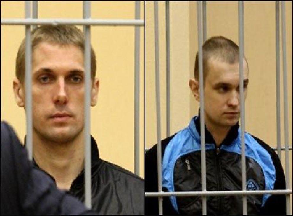 SKUTT: Vladislav Kovaljov (t.v) og Dmitry Konovalov (t.h) ble dømt til døden for bomobeattentatet i Minsk i Hviterussland i fjor. Kovaljov skal i følge flere kilder nå være henrettet ved skyting. Foto: AFP