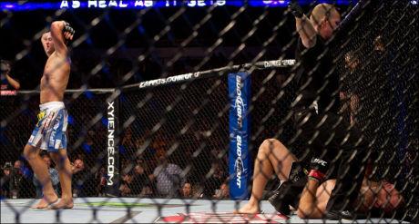 KNOCKET UT: John Olav Einemo tapte på knockout mot Dave Herman i UFC-debuten i fjor. Foto: AP