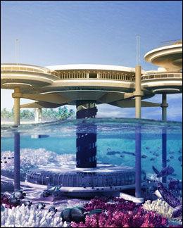 SJAKT: Denne tegningen viser hele komplekset både over og under vann. Sjakten mellom «etasjene» skal inneholde trapp og heis. Foto: Illustrasjon: DEEP OCEAN TECHNOLOGY