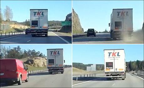 KJØRTE VINGLETE: Flere ganger vinglet traileren fra den ene siden til den andre av veien. FOTO: SKJERMDUMP