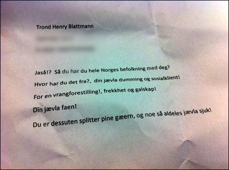 BREV: Dette brevet lå også i Blattmanns postkasse. Foto: PRIVAT