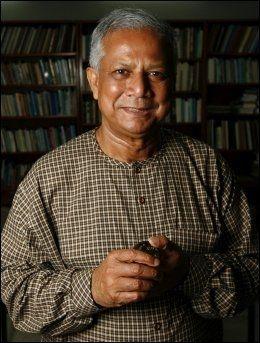 FIKK STØTTE: Fredsprisvinner Muhammad Yunus. Foto: Göran Bohlin, VG