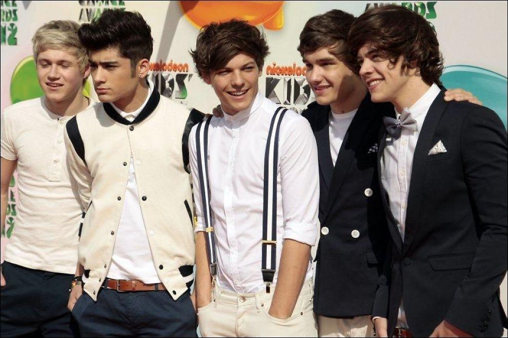 SUKSESSBAND: F. v.: Niall Horan, Zayn Malik, Louis Tomlinson, Liam Payne og Harry Styles, her på en prisutdeling i Los Angeles i mars. Foto: AP