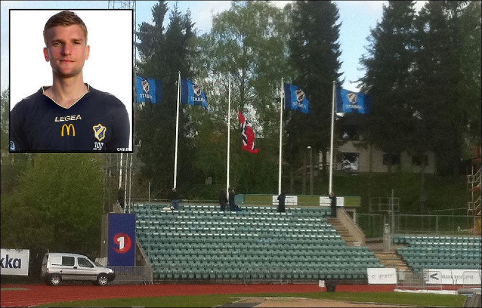 FUNNET DØD: Tor-Marius Gromstad (innfelt) ble funnet død mandag morgen. På Nadderud flagges det i dag på halv stang for Stabæk-spilleren, som forsvant lørdag morgen. Foto: Johan Stub/Wegard Bakkehaug