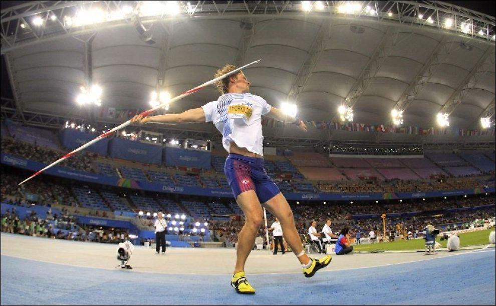 STOPPET AV VÆRET: Andreas Thorkildsen tok det rolig i Shanghai. Her er han under VM i 2011. Foto: NTB Scanpix