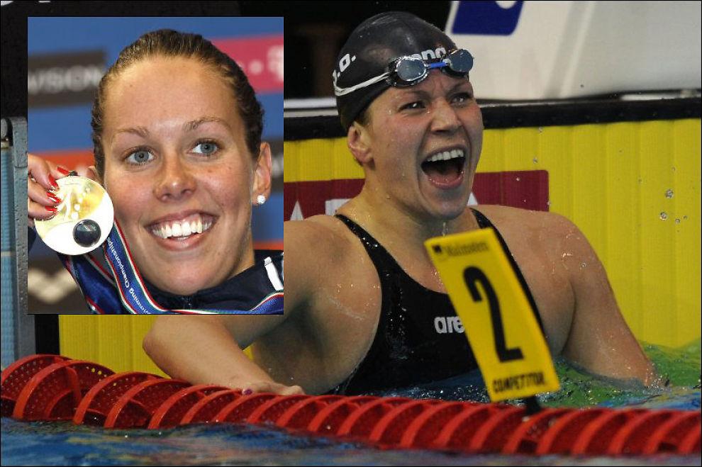 GULL Sara Nordenstam og Ingvild Snildal (innfelt) svømte begge inn til gull i ettermiddag. Foto: Attila Kisenbendek /AFP og Michael Sohn /AFP