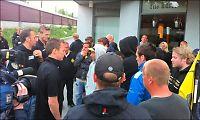 LSK-spillerne ble møtt av supporteraksjon på Åråsen