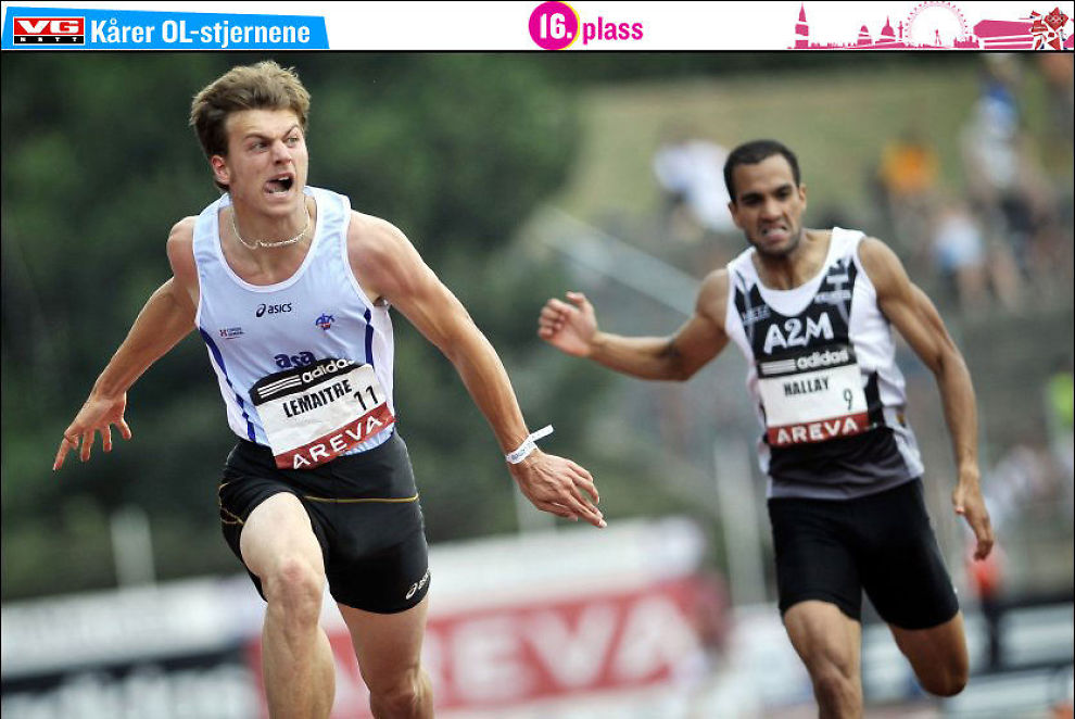 HISTORISK: Her løper Christophe Lemaitre inn til tiden 9.98 i det franske mesterskapet i Valence 2010, og blir den første hvite mannen under 10 sekunder på 100 meter. Foto: AFP/JEFF PACHOUD