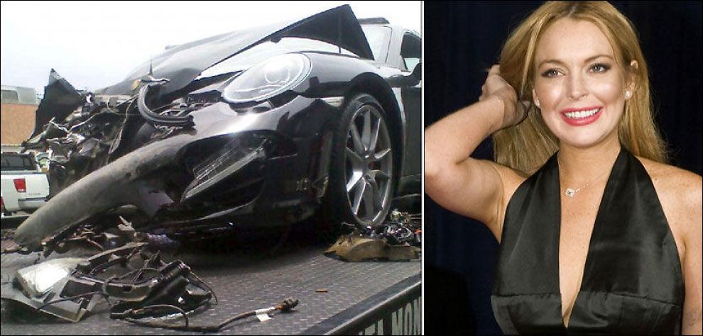 BILEN VRAKET: Lindsay Lohan - her på et bilde fra april i år - var heldig som ikke pådro seg alvorlige skader i bilulykken. Foto: AP og Reuters