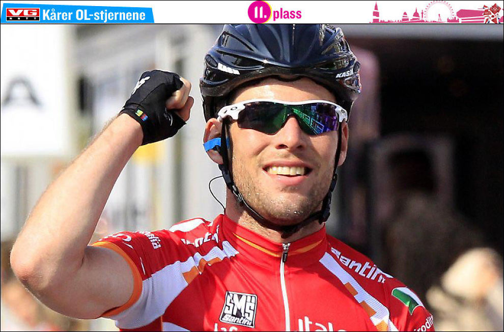 SEIERHERRE: Mark Cavendish har blitt vant til å juble for seire på sykkelsetet - her etter å ha vunnet en etappe under Giro d`Italia i år. Foto: Reuters