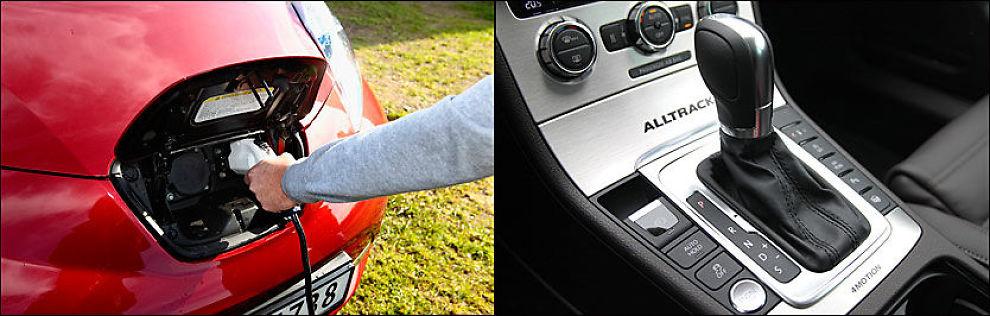 ÅRSAK: Nissan har solgt mange eksemplarer av elbilen Leaf (til venstre), og er best i landet på CO2-kutt. Volkswagen har ikke elbiler eller hybrider, lanserer flere større motorer og firehjulstrekk (som modellen til høyre, Volkswagen Alltrack), og er eneste bilmerke som øker CO2-utslippet. Foto: Jan Petter Lynau/Øystein Larsen-Vonstett.