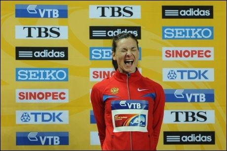LYKKE: Jelena Isinbajeva vant innendørs-VM i Istanbul i mars 2012. Foto: Adrian Dennis, AFP