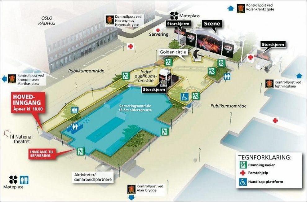 KONSERTOMRÅDET: Denne grafikken over TOPP 20-showet på Rådshuplassen i Oslo fredag bør du studere dersom du tar turen. Foto: Grafikk: TOM BYERMOEN