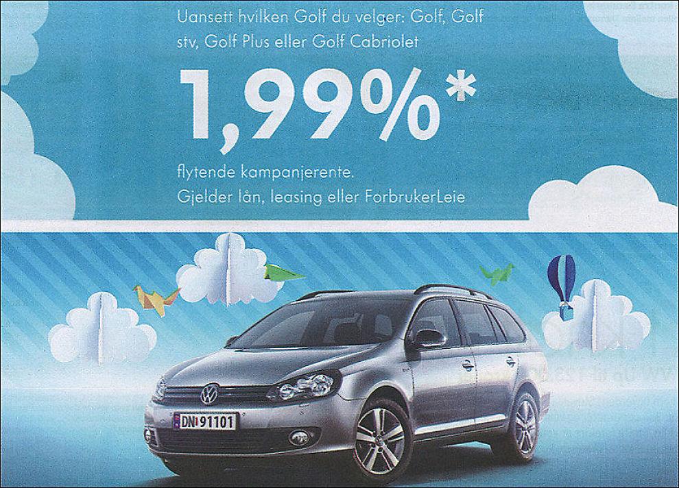 DOBBEL: Den effektive renten på billånet fra Volkswagen er over dobbelt så høy som det ser ut til. I TV-reklamen kommer ikke dette godt nok frem, slår Forbrukerombudet fast. Foto: Faksimile