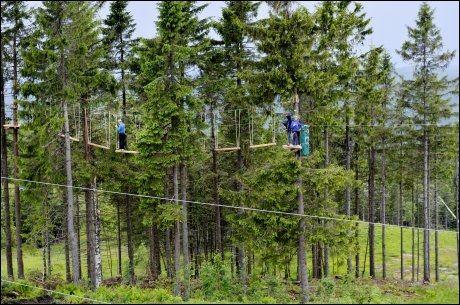 LANGT NED: Å balansere på trekubber høyt over bakken kan være skummelt dersom du lider av høydeskrekk. Foto: Gøran Bohlin