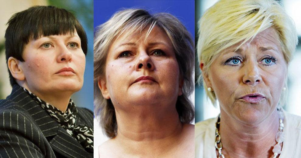 MØTER IKKE: Helga Pedersen (Ap), Erna Solberg (H) og Siv Jensen (Frp) møter på få av de obligatoriske komitémøtene på Stortinget. Foto: NTB SCANPIX