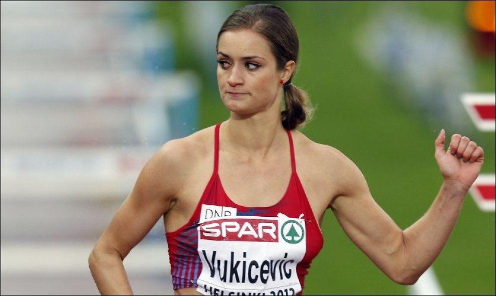 OL-UTTATT: Christina Vukicevic etter semifinale i 100 meter hekk i EM i friidrett i Helsingfors. Foto: NTB Scanpix/ Lise Åserud