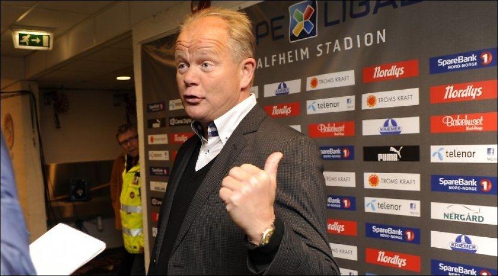 SKUFFET: Per-Mathias Høgmo var ikke imponert over at eget lag rotet det til etter en solid førsteomgang mot Lillestrøm. Her er han avbildet etter Tromsøs kamp mot Brann i mai i år. Foto: Rune Stoltz Bertinussen, NTB Scanpix