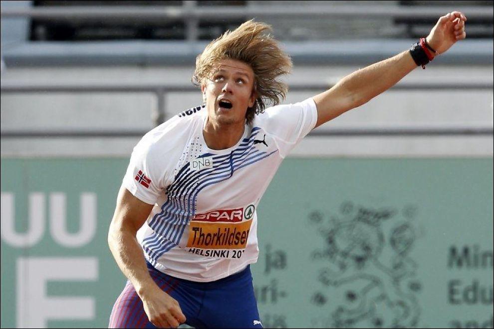 I FRAMGANG: Skadeplagede Andreas Thorkildsen er bedre to uker før OL. Her er han avbildet under EM i Helsinki for to uker siden. Foto: Scanpix