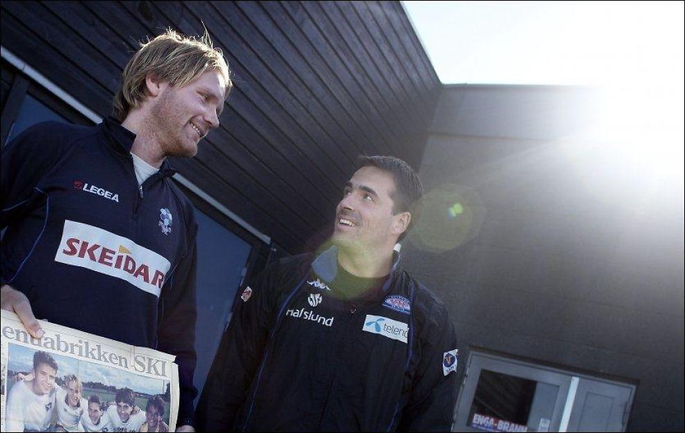 GODE VENNER: VG samlet Follo-trener Hans Erik Eriksen og Martin Andresen før Follo møtte Rosenborg i den historiske cupsemifinalen for to år siden. Foto: Marius Knutsen / VG