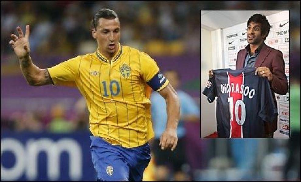 KRITISK: Tidligere PSG-spiller Vikash Dhorasoo (innfelt) er kritisk til at gamleklubben vil hente den svenske stjernen Zlatan Ibrahimovic. Foto: PIERRE ANDRIEU, AFP / CHARLES PLATIAU, REUTERS