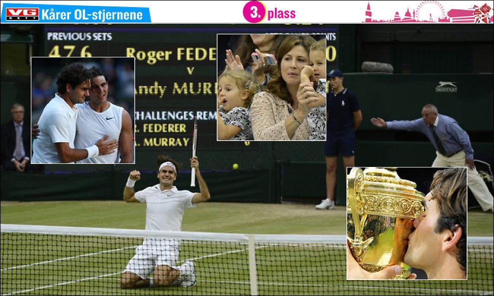 ENDELIG: Roger Federer kaster seg på kne i det han forstår at han har tatt sin 7. Wimbledon-tittel forrige søndag. Innfelt f.v.: Rivalen Rafael Nadal, da han slo Federer i 2008. Federers kone Mirka og døtrene Myla Rose og Charlene Riva. Federer kysser Wimbledon-trofeet for 7. gang. Foto: Reuters/AFP/Pa