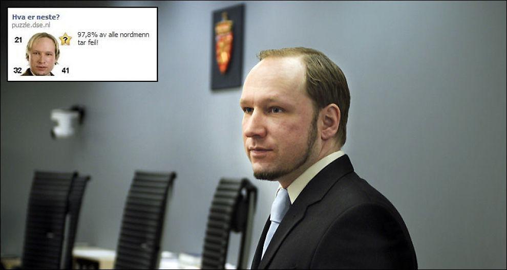 REAGERTE: En rekke Facebook-brukere kontaktet VG tirsdag etter at de ble møtt av annonsen med Anders Behring Breivik (faksimile øverst til venstre). Foto: HELGE MIKALSEN / VG
