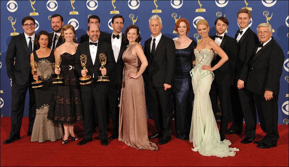"""GRUNN TIL Å FEIRE: """"Mad Men""""-gjengen fikk 18 Emmy-nominasjoner i år. Foto: Scanpix"""