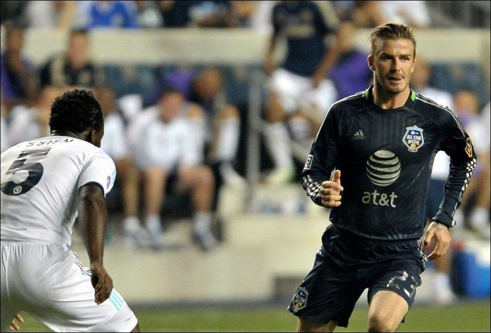 ET HODE FORAN: David Beckham og MLS All Star-laget slo Chelsea etter en sen scoring. Foto: Scanpix/AFP.