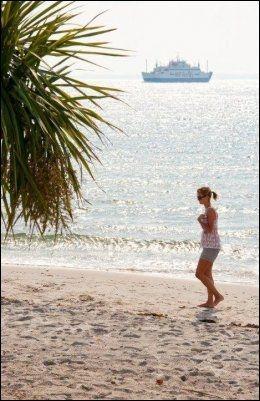 SKÅNE: På Tropical beach ved Helsingborg kan du ligge under eksotiske palmer og nyte feriefølelsen med hvit finkornet sand mellom tærne. Foto: Visit Sweden
