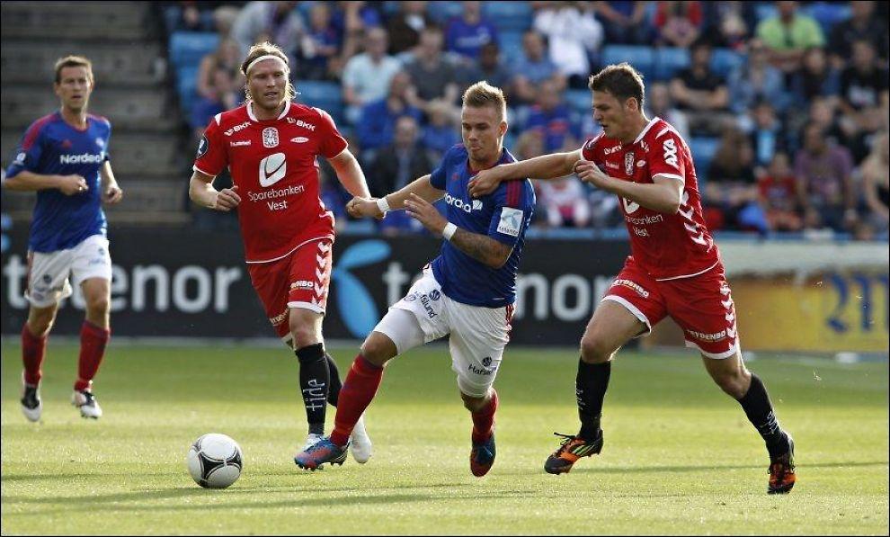 AVSKJEDSGAVE: Marcus Pedersen scoret i sin siste kamp på utlån i Vålerenga. Foto: Cornelius Poppe, NTB Scanpix