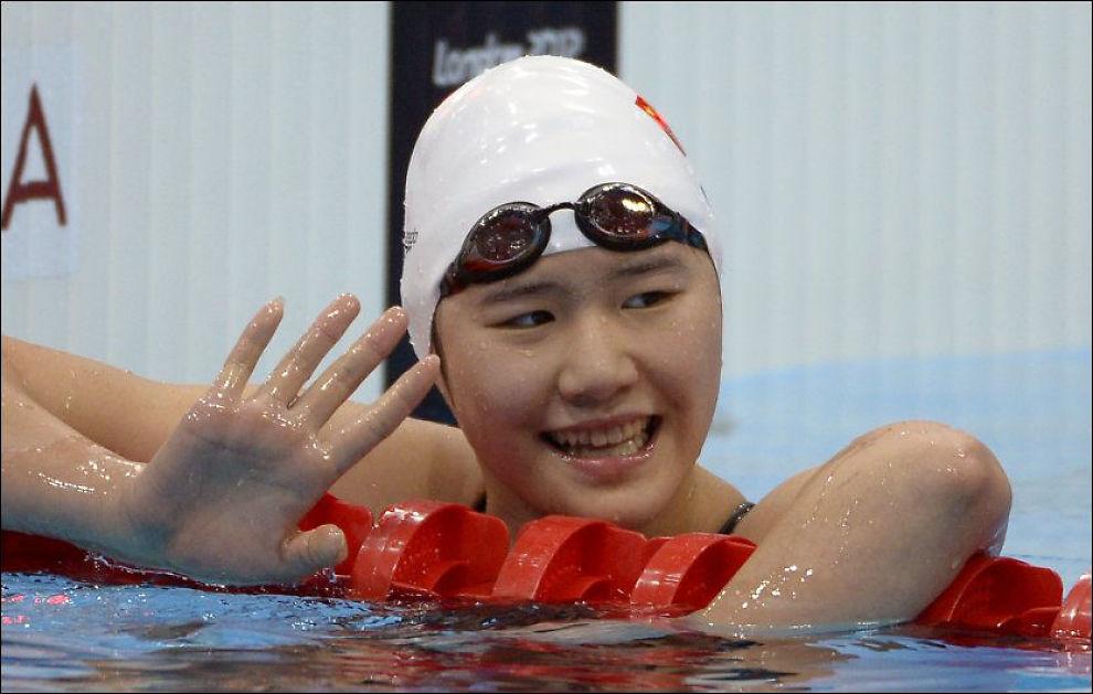 GULLJENTE: Ye Shiwen ble olympisk mester for første gang lørdag. Foto: AP