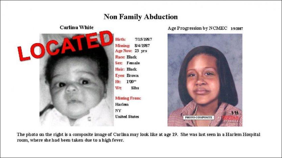 BLE BORTFØRT: Carlina White fant sitt eget bilde på en nettside for savnede barn i USA. Foto: AFP/ SCANPIX