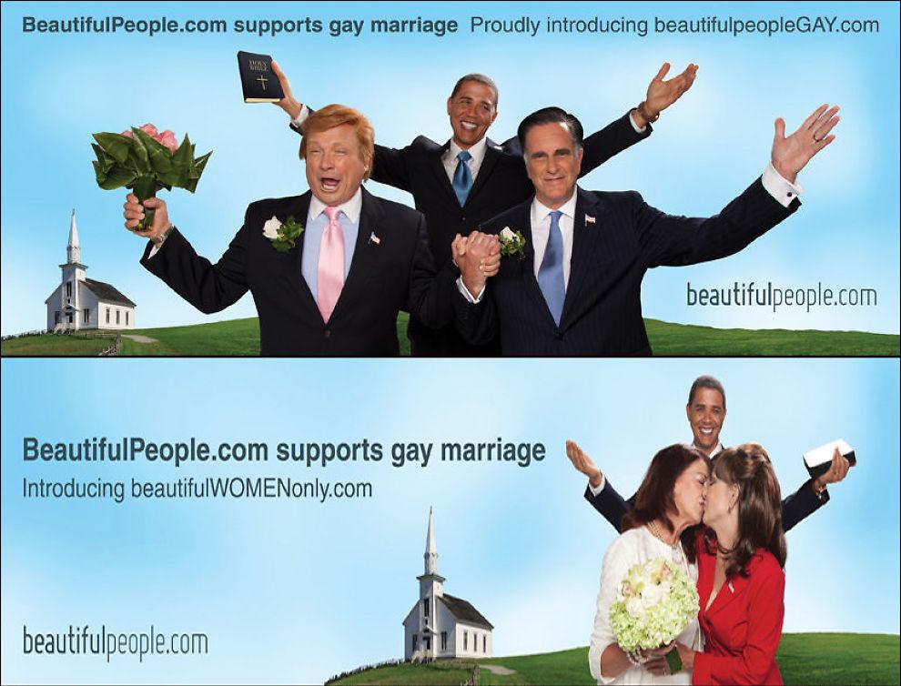 FORBUDT: Romney og Trump som gifter seg og Palin og Bachmann som kysser ble for drøyt for Florida. Reklamene er nå blitt sensurert. Foto: Beautifulpeople.com/Barcroft Media