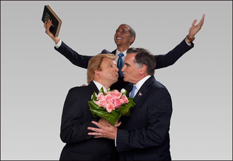 BRYLLUPSBILDER: Mitt Romney og hans støttespiller Donald Trump får gjennomgå av datingsiden. Foto: Beautifulpeople.com/Barcroft Media