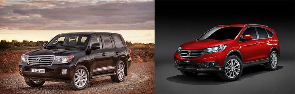 KOMMER BEST UT: Honda og Toyota kan glede seg over resultatene av den britiske undersøkelsen. Her er 2012-modeller av Toyota Landcruiser og Honda CRV.