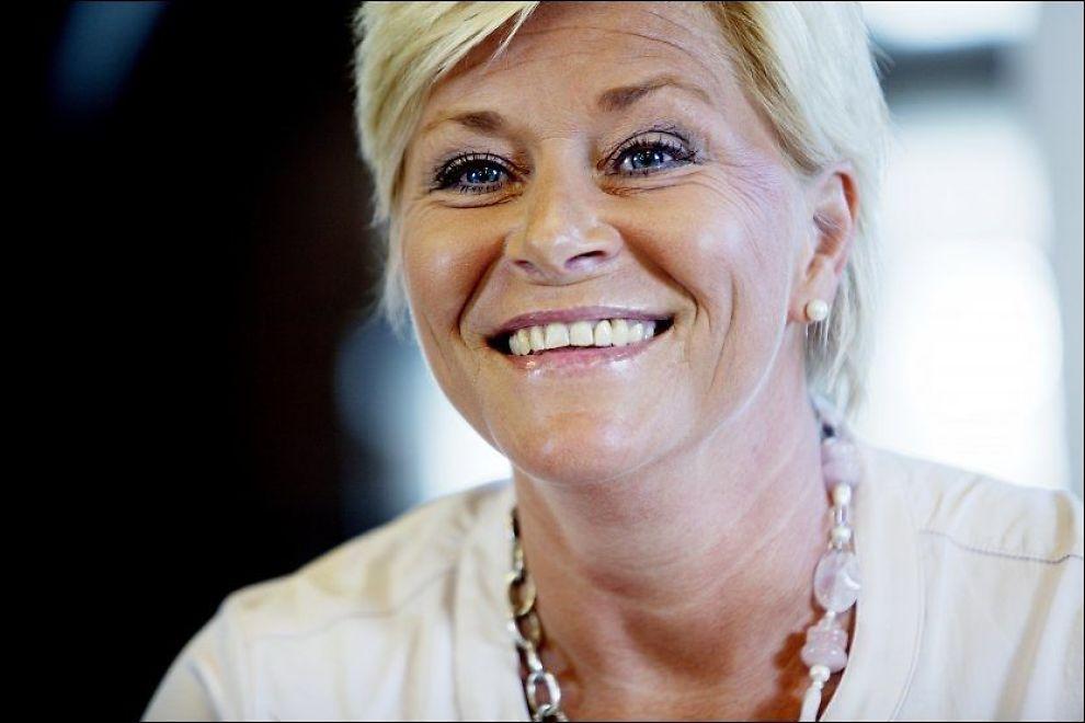 LEI AV FORBUDSTATEN: Frp-leder Siv Jensen er oppgitt over rødgrønne utspill og norsk lovgiving. Foto: NTB scanpix