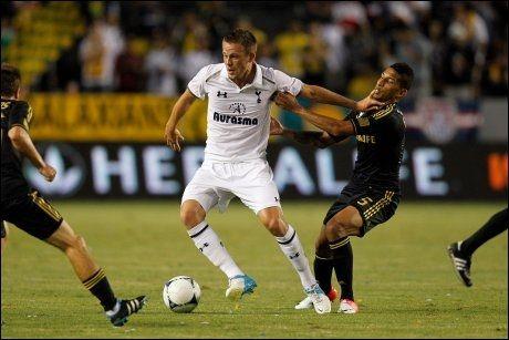 SPURS-KJØP: Gylfi Sigurdsson i treningskamp mot LA Galaxy 24. juli. Foto: Tapia Ric, AFP