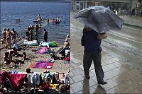 Solkrem og t-skjorte i sør, paraply og jakke i nord